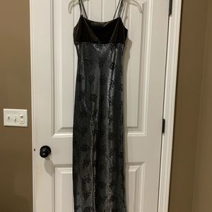 Pewter spaghetti strap evening gown